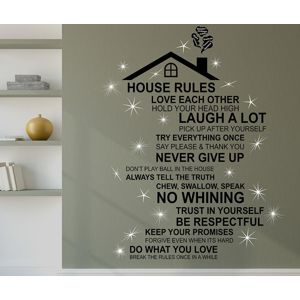 Samolepka Rooftop House Rules English