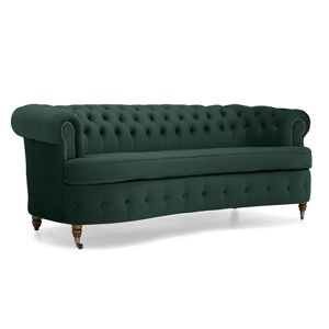 Třímístná pohovka Chesterfield Curved Dark Green